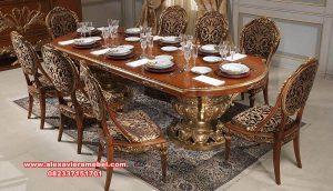 desain set meja makan kayu mewah breana skm-088