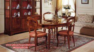 Meja makan klasik oval jati mebel Jepara Skm-090
