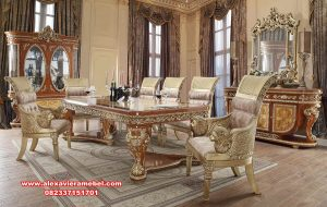 Set meja makan jati klasik mewah ukir Jepara Skm-085