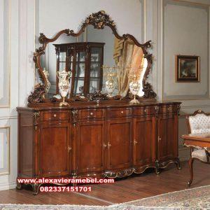 Set bufet dan pigura konsul kayu jati mewah Mkr-075