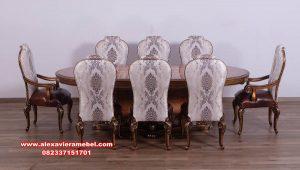 Set meja makan classic kayu jati model modern mewah Skm-092