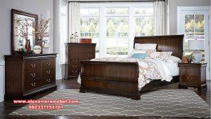 Set tempat tidur modern minimalis kayu jati perhutani Ks-078