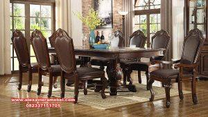 meja makan dining table set jati klasik mewah skm-125