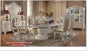 set meja kursi makan silver duco klasik ukir rose skm-117