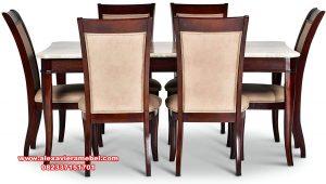 set meja makan kayu jati jepara terbaru top marble skm-116