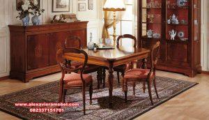 set meja makan klasik minimalis kayu jati skm-124