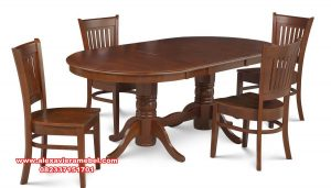 set meja makan kayu jati minimalis andover skm-132