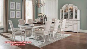set meja makan putih model modern clarissa skm-141