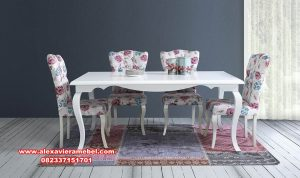 set meja makan modern duco shabby chic terkini skm-153