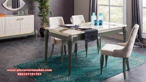 meja kursi makan modern minimalis green zumrut skm-158