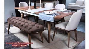 set meja makan royal minimalis kayu jati skm-163
