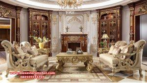 1 set kursi sofa tamu termewah klasik gold srt-172