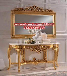 model set meja konsul gold mewah ukiran mkr-137