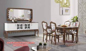 Set meja makan kayu jati klasik alyans Skm-175