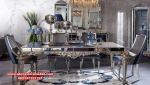 Set meja makan mewah modern barok glass Skm-176